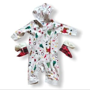 3-6 m unisex Christmas jammies and boots